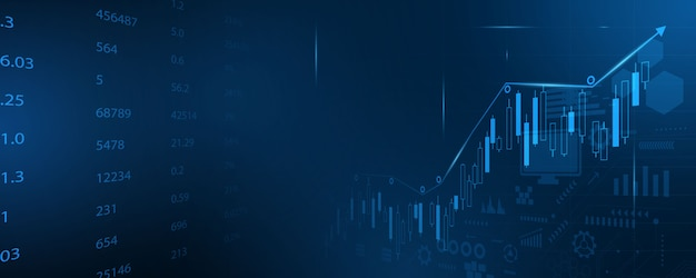 Stock market, economic graph with diagrams, business and financial concepts and reports, abstract technology communication concept  background Premium Vector