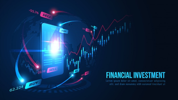 Stock market or forex online trading graph on smartphone background concept Premium Vector