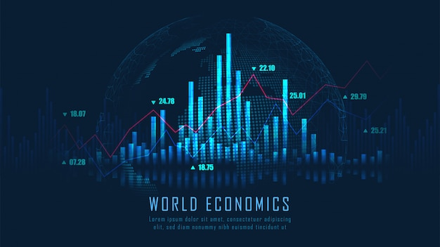 Stock market or forex trading graph background Premium Vector