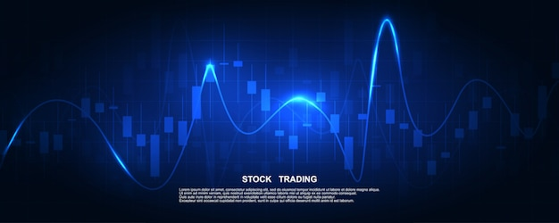 Stock market graph or forex trading chart for business and financial concepts, reports and investment on dark  . Premium Vector