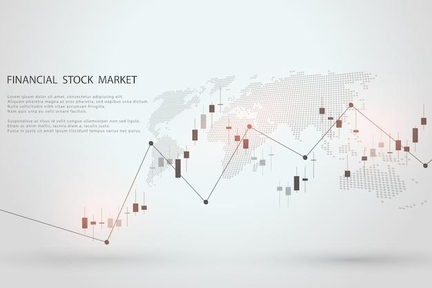 График фондового рынка или торговая диаграмма форекс для отчетов о бизнес-концепциях и финансовых концепциях и инвестиций на сером фоне Premium векторы
