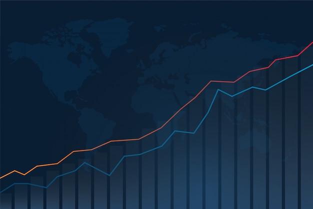 株式市場の投資グラフと世界地図の背景。 Premiumベクター