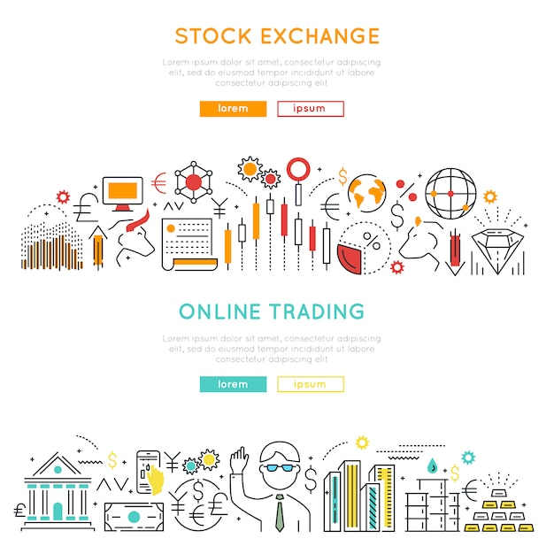 Stock market linear banners Free Vector