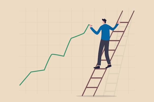 株価の上昇、資産価格の高騰または上昇、強気の株式市場または景気回復の概念、自信を持ってビジネスマンのトレーダーがはしごを登り、グリーンの上昇投資ライングラフを描きます。 Premiumベクター