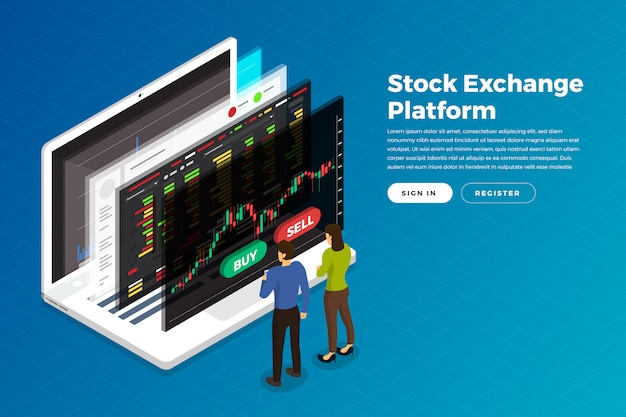 Stock trader exchange Premium Vector
