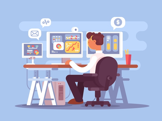 Stock trader sits in an armchair and looking at the graphics market fluctuations Premium Vector