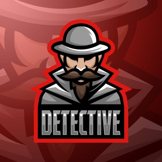 Фондовый вектор детектив талисман логотип иллюстрации. Premium векторы