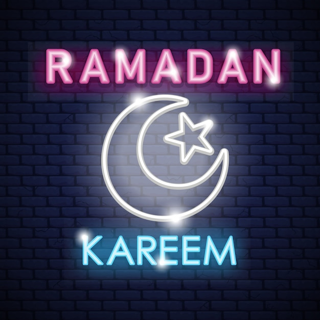 Stock vector ramadan kareem neon sign design template night Premium Vector