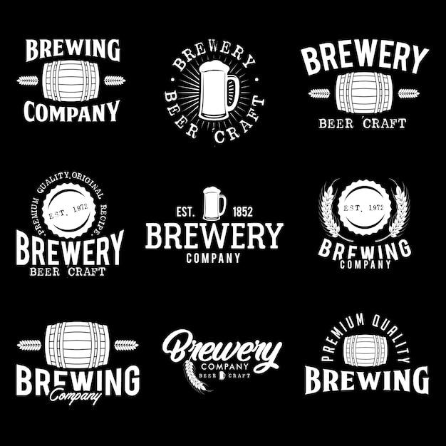 Stock vector set beer logo illustration Premium Vector