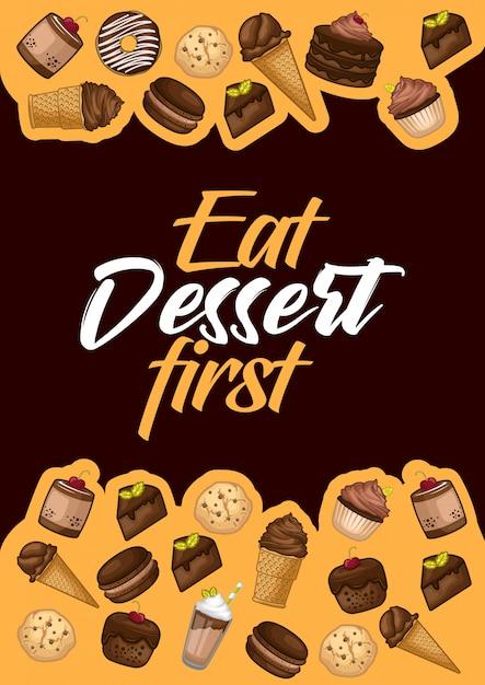Stock vector set of dessert object illustration Premium Vector