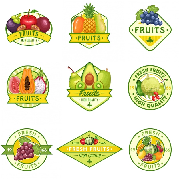 Stock vector set of fruits logo Premium Vector
