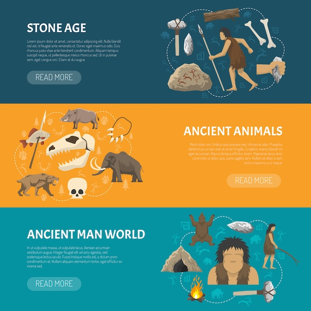 Stone age banners Free Vector