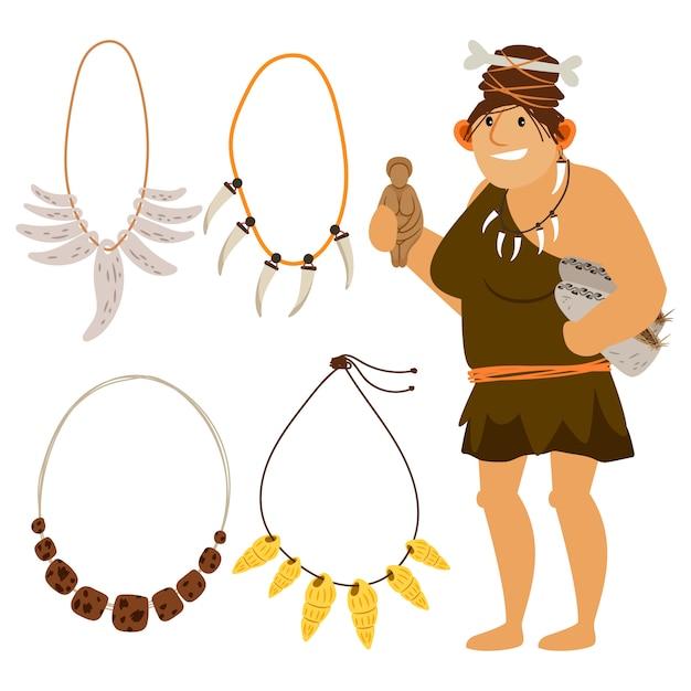 Stone age cartoon woman shopping Premium Vector