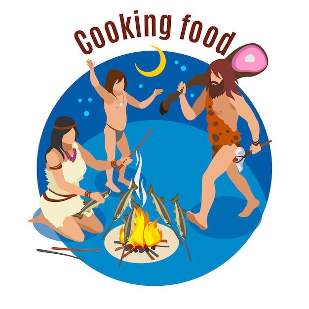 石器時代の料理のシンボルと等尺性概念を調理 無料ベクター