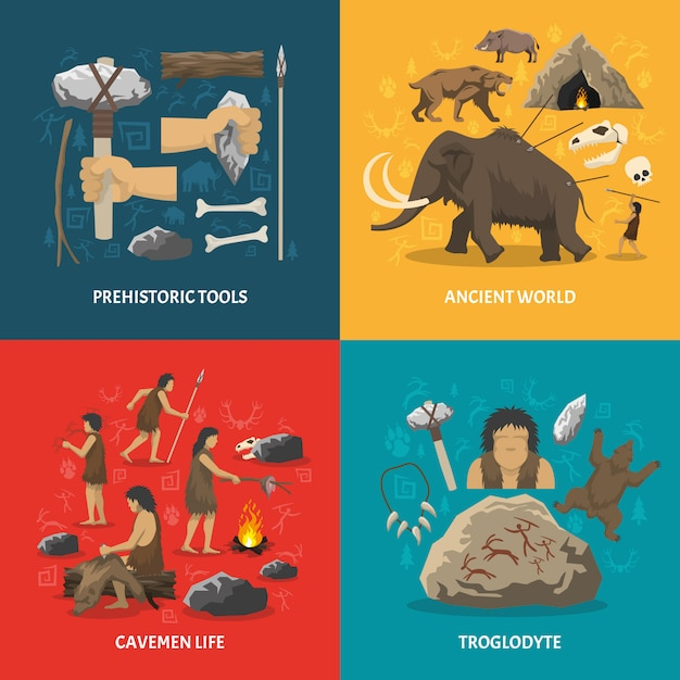 Stone age flat Free Vector