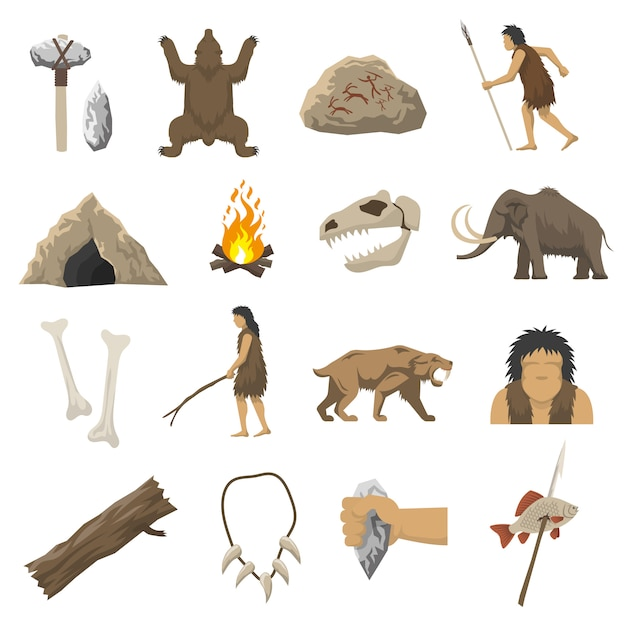 Stone age icons Free Vector