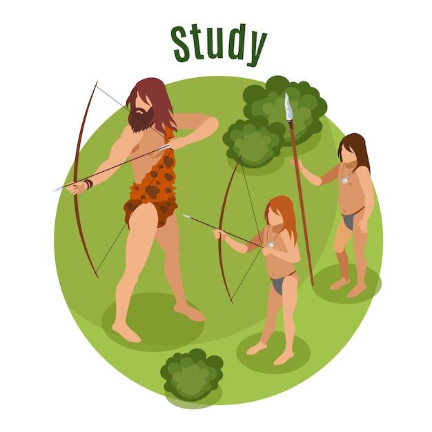 狩猟学習シンボルと石器時代の等尺性概念 無料ベクター