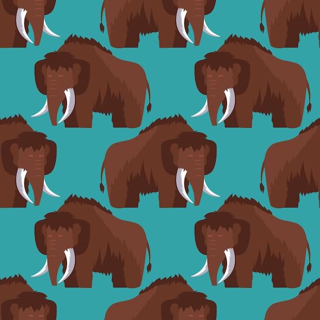 Stone age mammoth seamless pattern Premium Vector