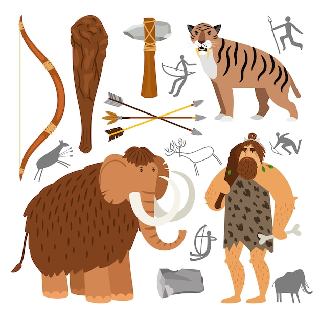 Stone age neanderthal caveman icons Premium Vector