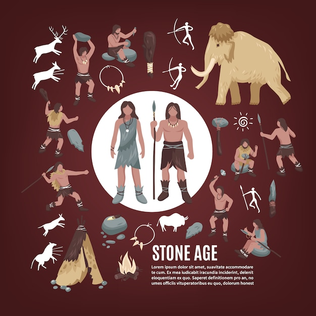 Stone age people icons set Free Vector