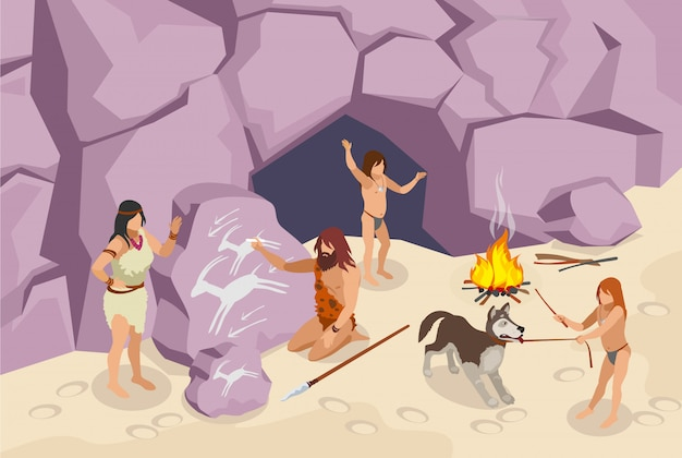 Stone age people isometric  with ancient people Free Vector