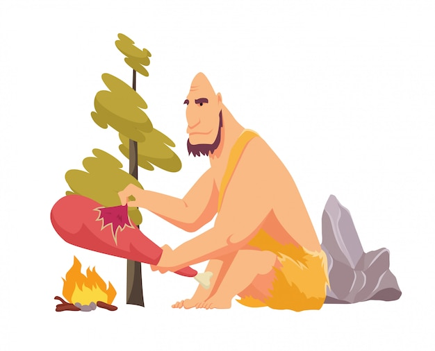 Stone age primitive man in animal hide pelt cooking meat food on fire. flat style vector illustration isolated Premium Vector