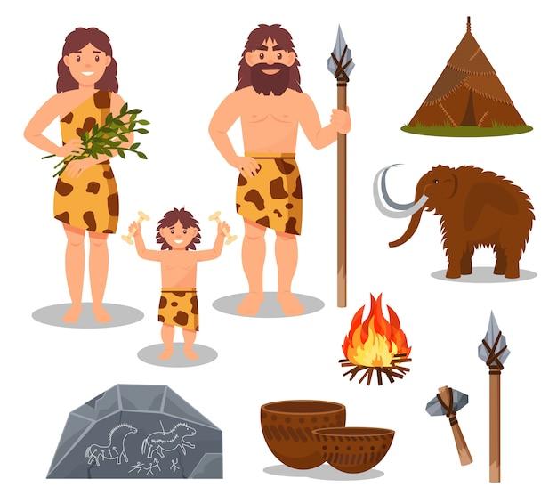 石器時代のシンボルセット、原始的な人々、マンモス、武器、白い背景の上の先史時代の家のイラスト Premiumベクター