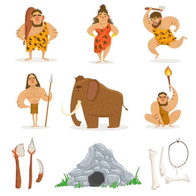 石器時代の部族の人々と関連オブジェクト Premiumベクター