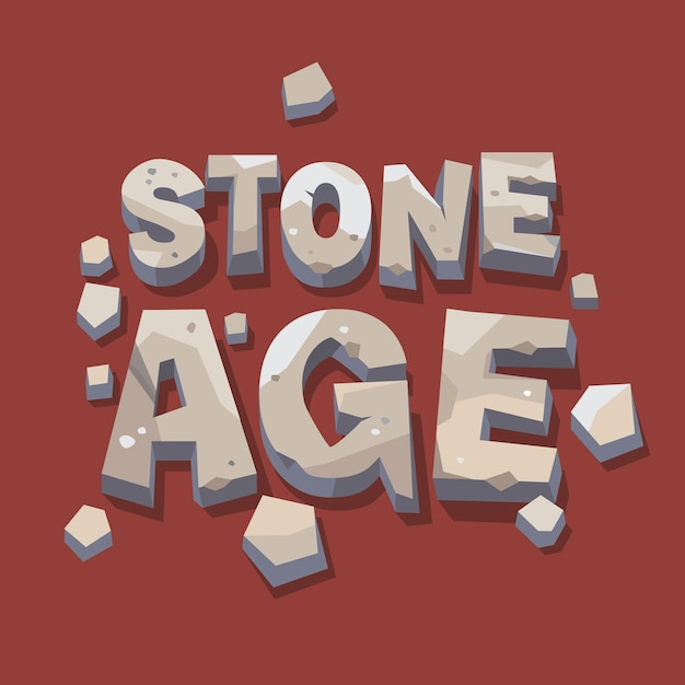 Stone age writing. 3d letters Free Vector