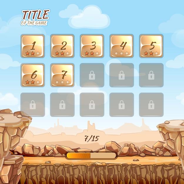 Игра «камень и скалы в пустыне» с пользовательским интерфейсом в мультяшном стиле. виртуальная реальность, приключенческая игра Бесплатные векторы