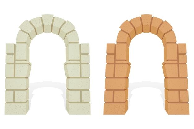 돌 건축 아이소 메트릭 3d 아치 세트. 무료 벡터