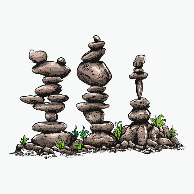 Stone balancing   art illustration Premium Vector