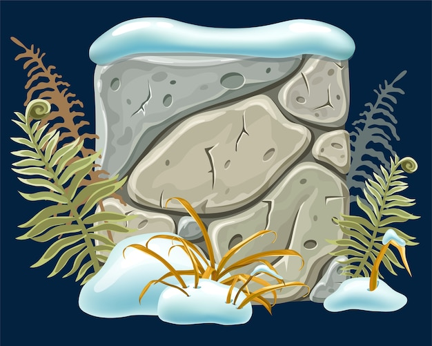 Stone board with snowdrifts, grass, fern. Free Vector