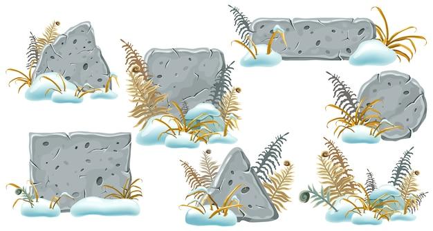 Tavole di pietra con cumuli di neve, erba e felce. Vettore gratuito