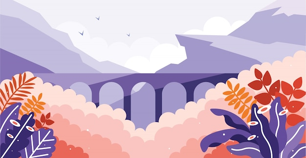 Stone bridge railway in the wild illustration Premium Vector