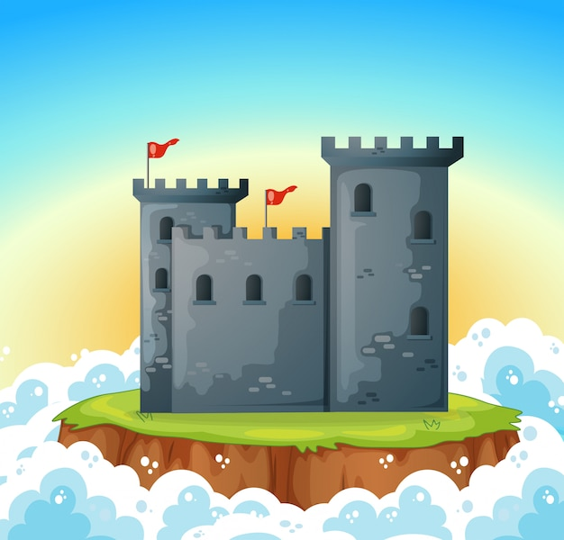 Stone castle on island Free Vector