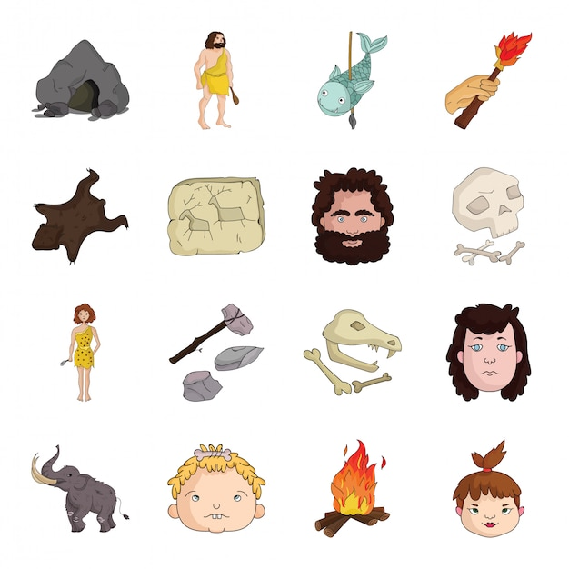 石器時代の漫画は、アイコンを設定します。イラスト古代時代。孤立した漫画は、アイコンの石の時代を設定します。 Premiumベクター