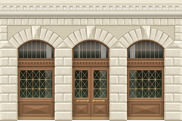 Stone facade of the establishment Premium Vector