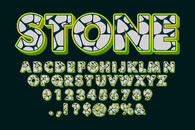 Carattere di pietra, alfabeto dei cartoni animati con motivo in pietra Vettore gratuito
