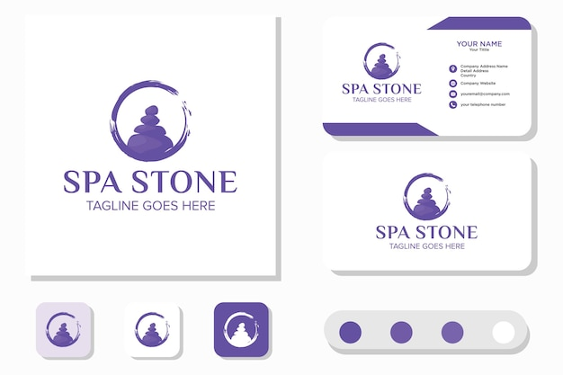Stone rock balancing spa and wellness and business card Premium Vector
