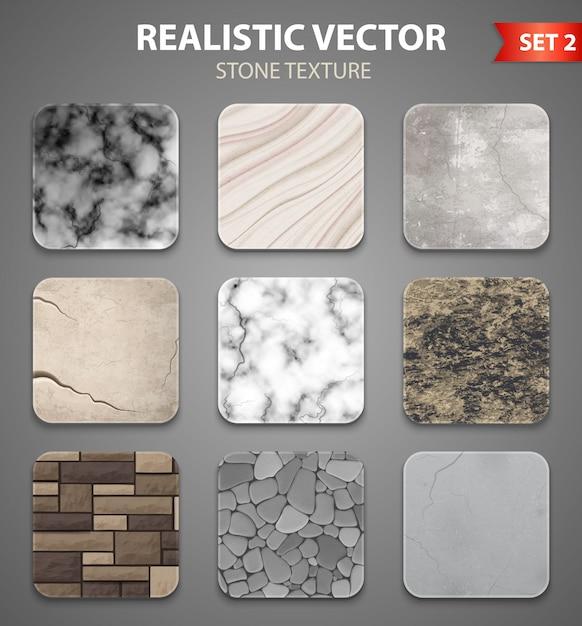 Insieme realistico di campioni di struttura di pietra Vettore gratuito