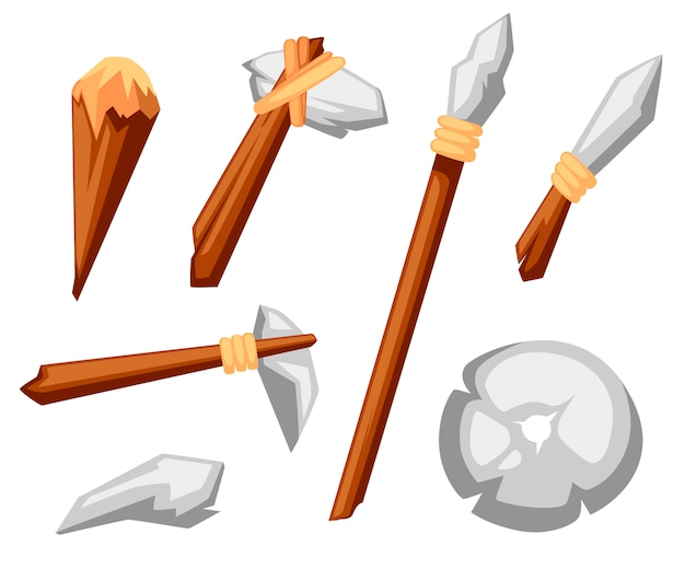 Stone tools set. stone age primitive work tools axe, hammer, club, spear and knife. stone wheel.  style  illustration  on white background Premium Vector