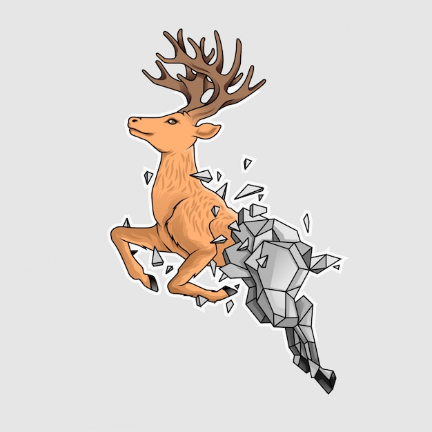 The stoned deer Premium Vector