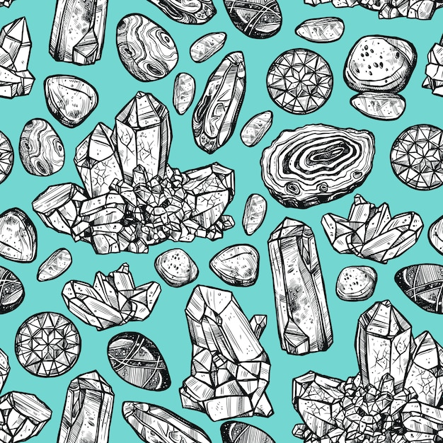 Stones crystal seamless pattern Free Vector
