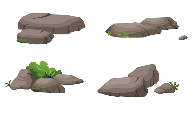The stones and shrubs decorate the garden beautifully. Premium Vector