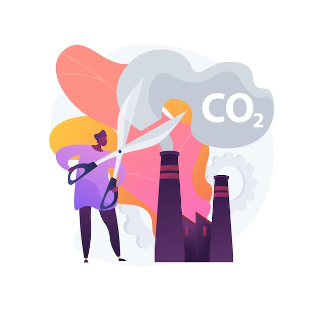 Stop air pollution. carbon dioxide reduction, environmental damage, atmosphere protection. toxic emission problem. ecology volunteer cartoon character. Free Vector
