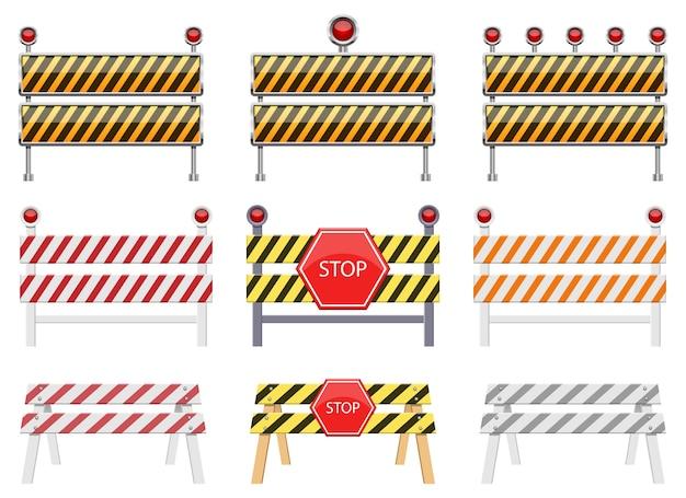 Остановить барьер, изолированные на белом фоне Premium векторы