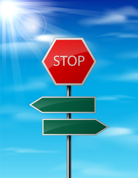Stop and blank traffic road sign on sky background Vector | Premium