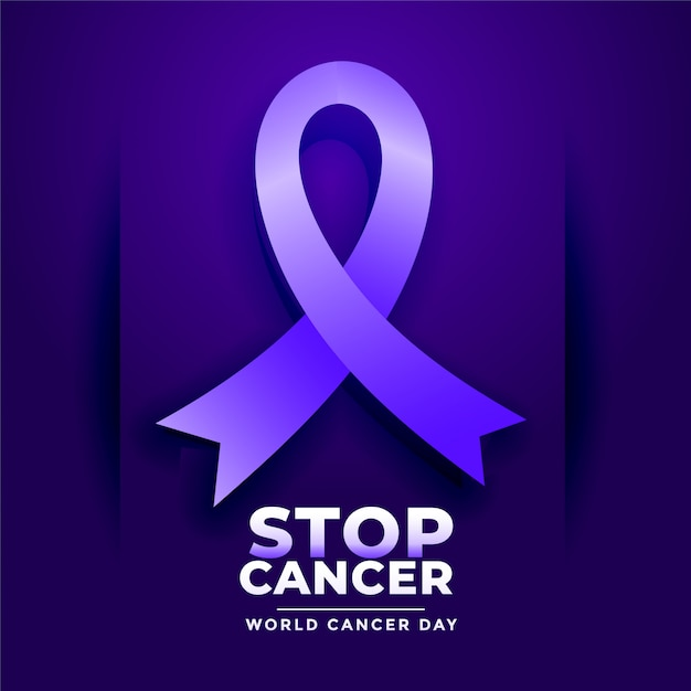 Stop cancer poster for world cancer day Free Vector
