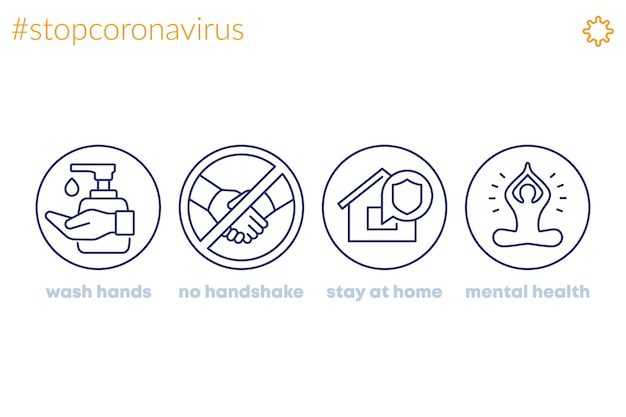 Stop coronavirus, advices line icons, wash hands, stay at home Premium Vector